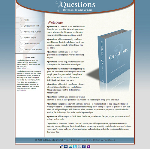 Questions the Book Website Layout